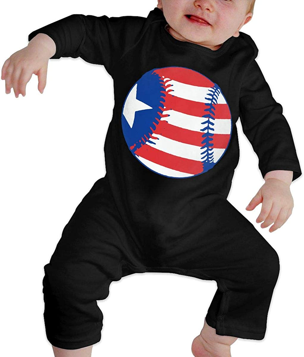 YELTY6F USA Flag Baseball Printed Boys Girls One-Piece Suit Long Sleeve Rompers Black
