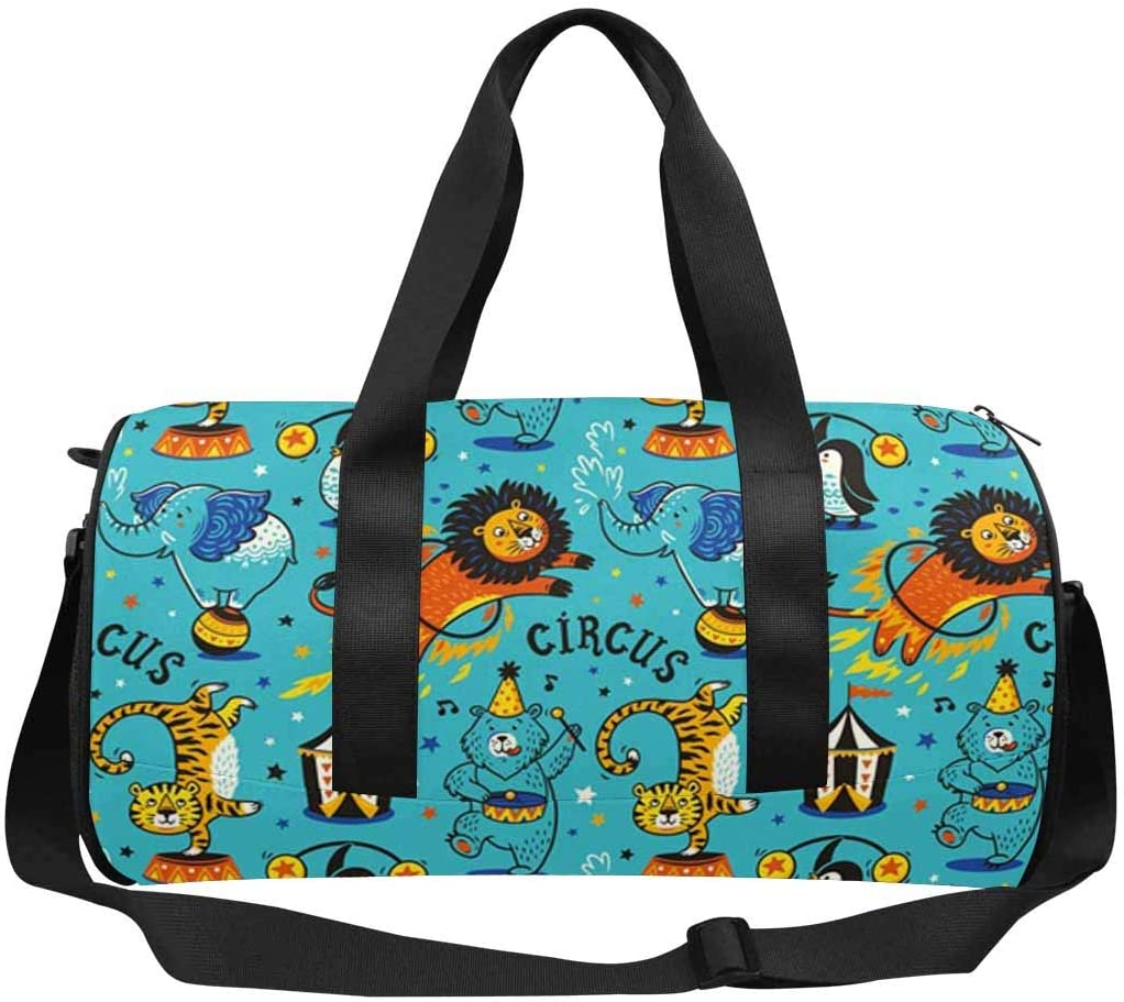 INTERESTPRINT Cartoon Circus Animals Travel Bag Water-Resistant Duffle Bag