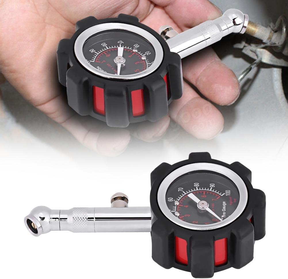 Keenso Professional Heavy Duty Manual Hand 0-100PSI Manom/ètre pour jauge de pression des pneus facile /à lire le cadran avec capuchon en caoutchouc Jauge de pression des pneus