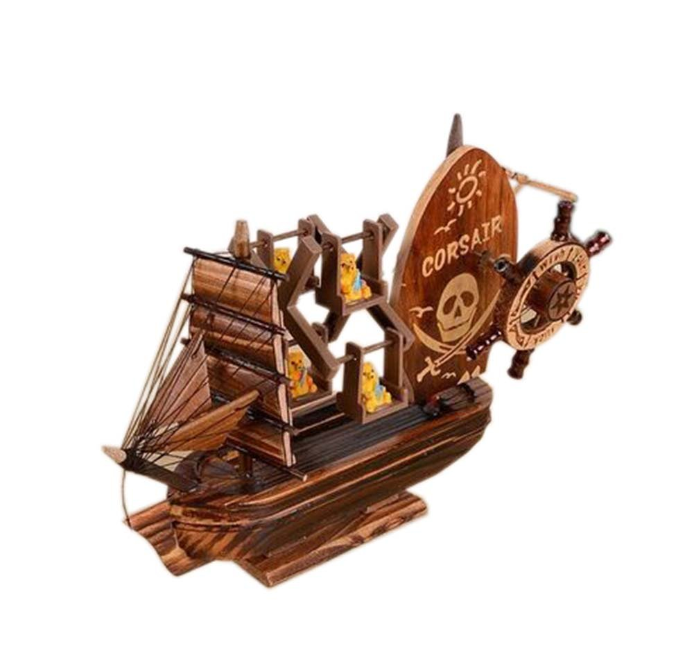 Vintage Wooden Pirate Ship Music Decoration Clockwork Music