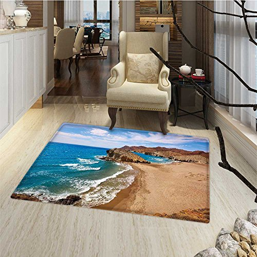 Landscape Bath Mats for floors Ocean View Tranquil Beach Cabo De Gata Spain Coastal Photo Scenic Summer Scenery Floor mat Bath Mat for tub 16''x24'' Blue Brown by Anmaseven