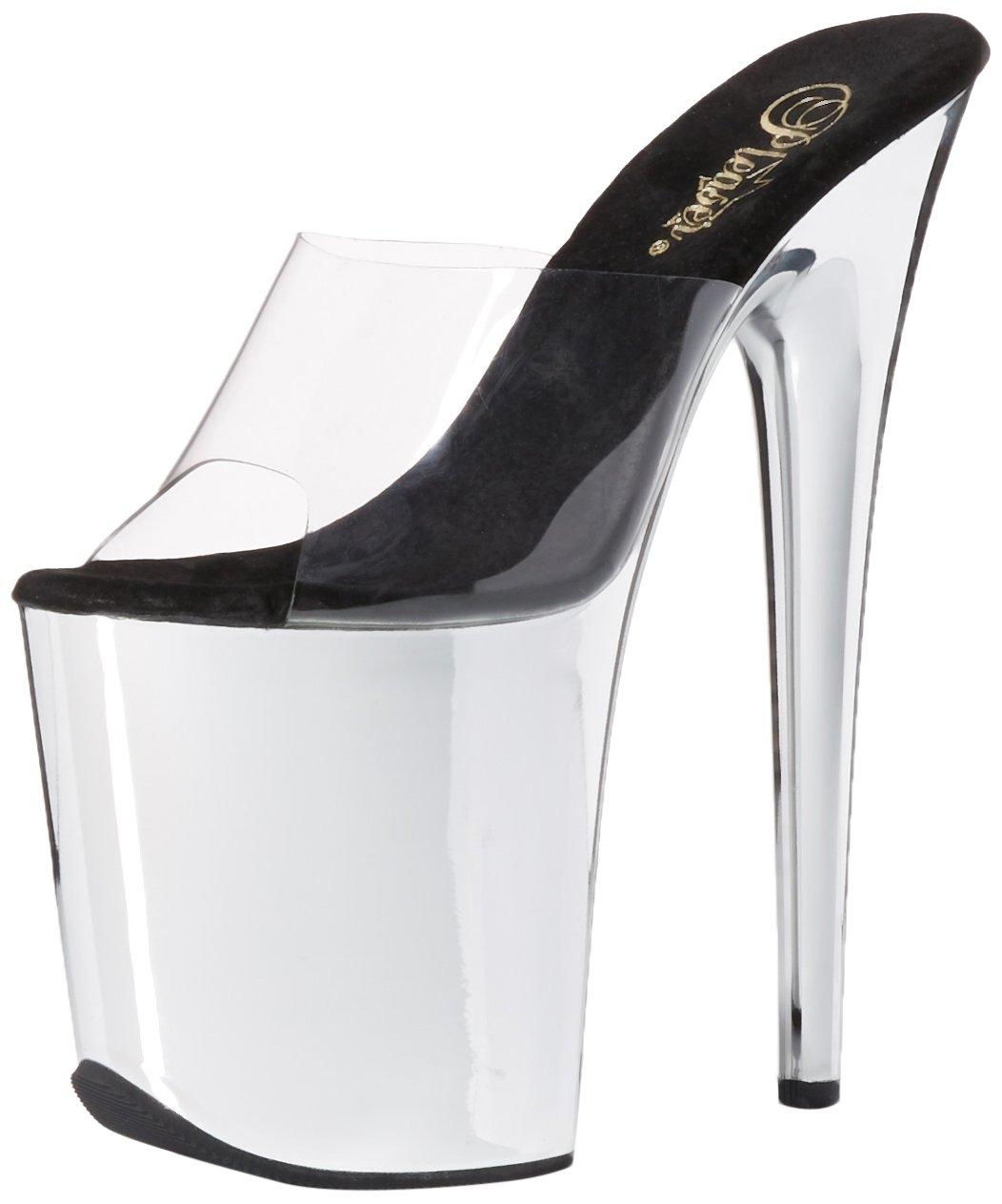 Pleaser Women's FLAM801/C/Sch Platform Dress Sandal B014J143Z8 10 B(M) US|Clear/Silver Chrome