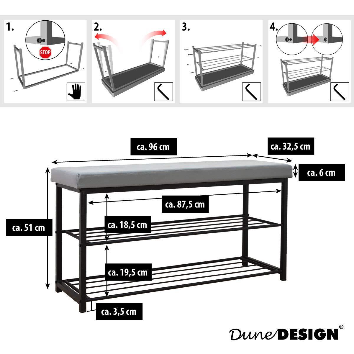 DuneDesign Schuhregal 96x32,5x51cm Schuhbank Offener Schuhschrank Sitzbank Grau