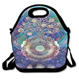 Kooiico Tree Of Life With Floral Style Mandala Spiritual Artwork Meditation Peace Spa Design Blue Purple Unique Lunch Tote Lunch Bag School Mid-sized
