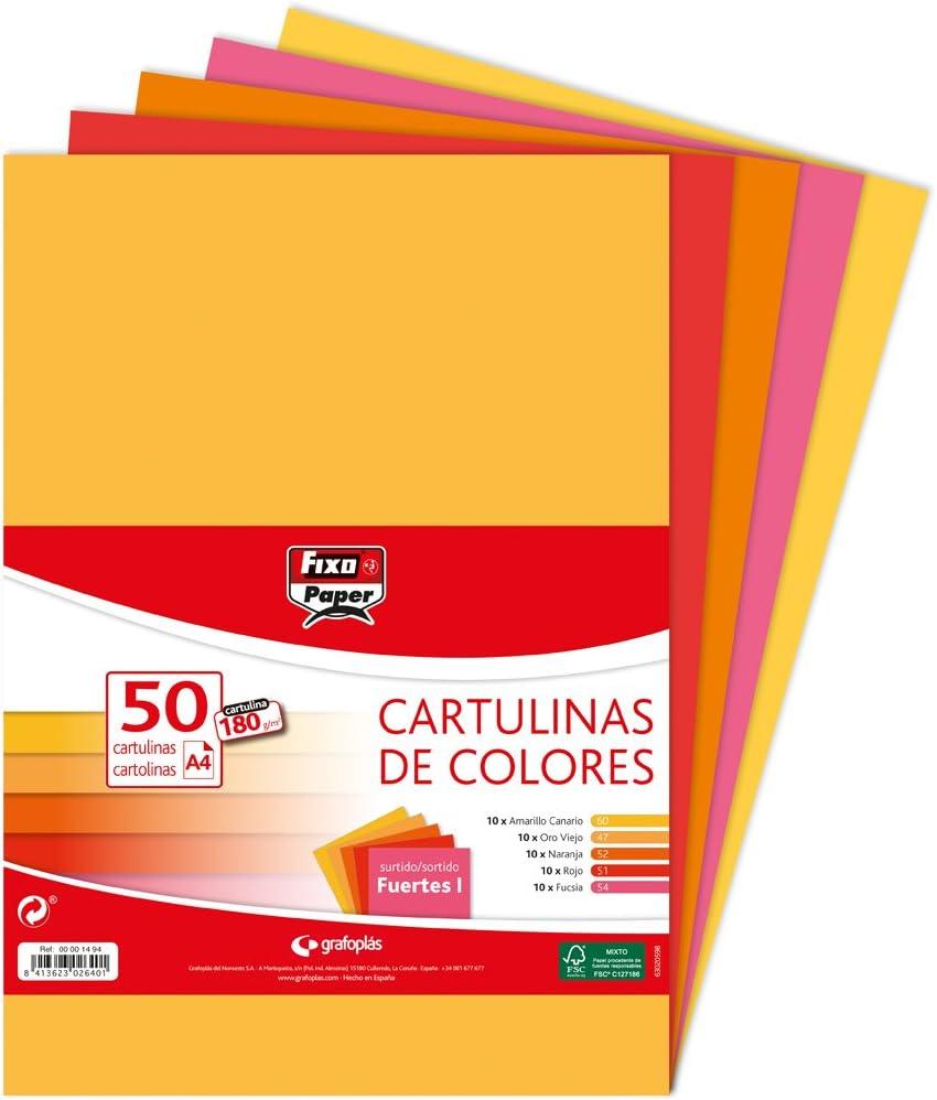Fixo Paper 00001494 – Paquete de cartulinas de colores A4 – Surtido de colores fuertes I, 50 unidades, 180g: Amazon.es: Oficina y papelería