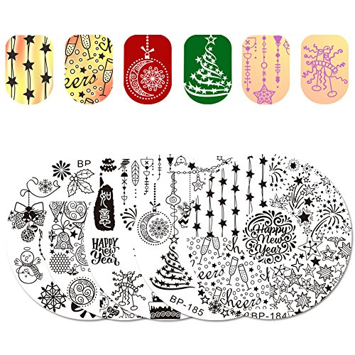 BORN PRETTY 5Pcs Nail Art Stamping Plate New Year Christmas Holiday Celebration Snowflake Manicure Print Template Image Plate