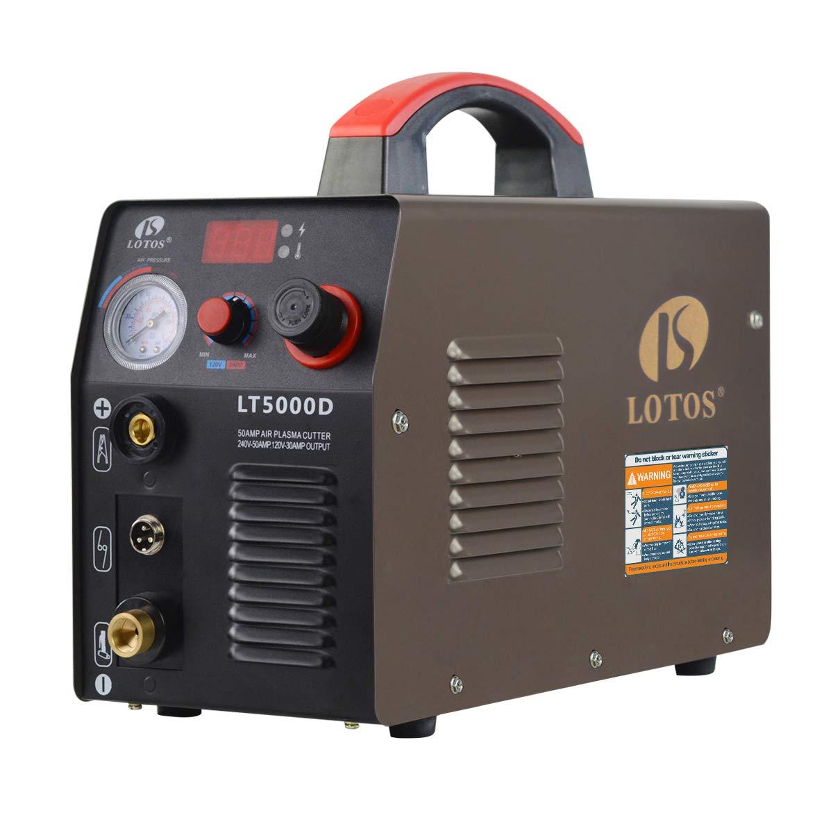 Lotos LT5000D Plasma Cutter 50Amps Dual Voltage Compact Metal Cutter 110/220V AC 1/2