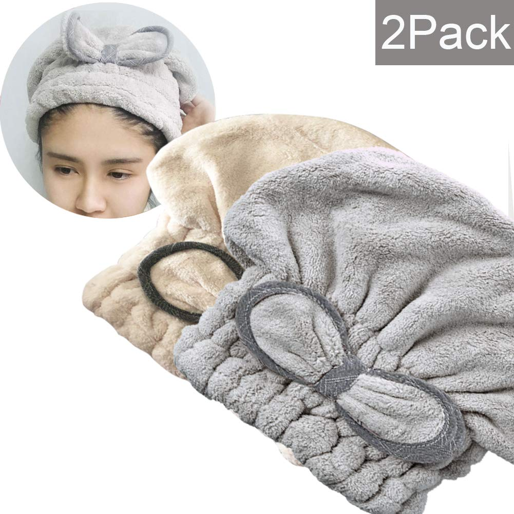 SweetCat 2PC Microfiber Hair Drying Caps, Extrame Soft & Ultra Absorbent, Fast Drying Hair Turban Wrap Towels Shower Cap for Girls and Women (Blue+Beige) Generic