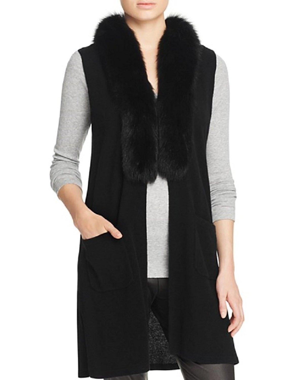 Private Label Womens Cashmere Fox Fur Sweater Vest Black S