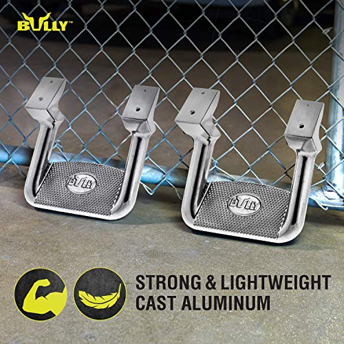 Bully AS-200 Universal Truck Polished Aluminum Side Hoop Step Set 2 Pieces Includes Mounting Brackets - Fits Various Trucks from Chevy (Chevrolet), Ford, Toyota, GMC, Dodge RAM and Jeep