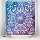 Z&L Home Indian Mandala Bath Shower Curtains Meditation Art Pattern Hippie Boho Bohemian Bathroom Decorations Blue and Purple 72x72Inches