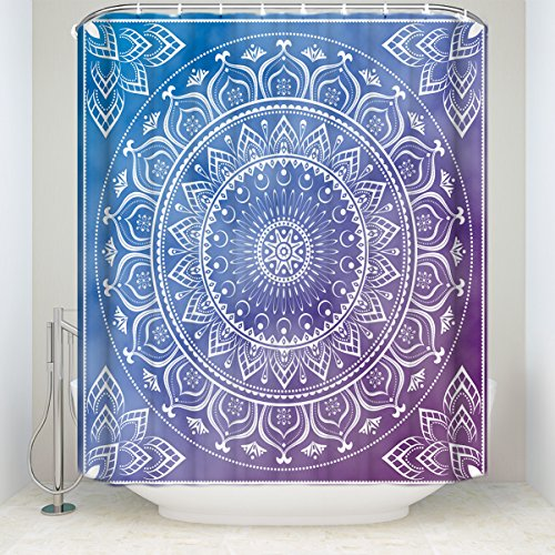 Z&L Home Indian Mandala Bath Shower Curtains Meditation Art Pattern Hippie Boho Bohemian Bathroom Decorations Blue and Purple 72x72Inches by Z&L Home