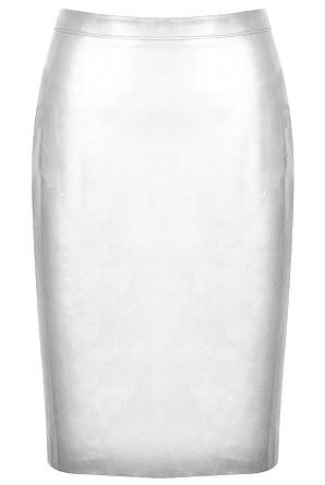 5b3e282a4d Faux Leather High Waisted Back Split Bodycon Midi Pencil Skirt Party PU PVC  White L (