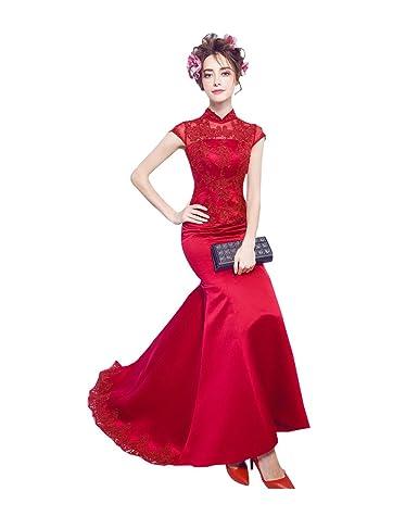 Beauty-Emily Tren de barrido Cheongsam vestido de novia de Corte Sirena: Amazon.es: Ropa y accesorios