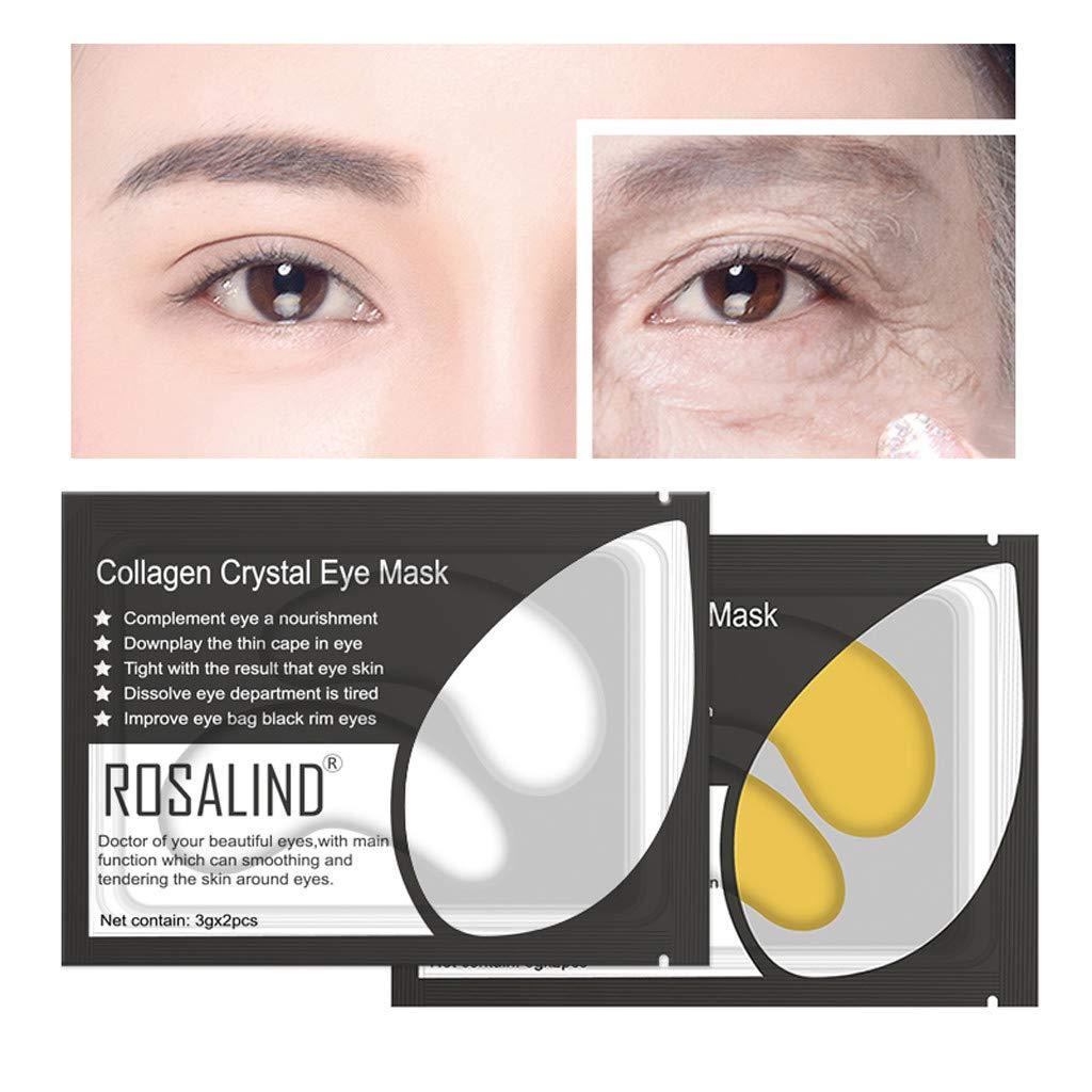 Jinjin Moisturizing Macial Masks,5 Pairs Wholesale New Crystal Gold Powder Gel Collagen Eye Mask Masks Sheet (White)