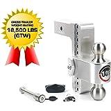 "Weigh Safe 180 HITCH LTB8-2.5-KA 8"" Drop Hitch, 2.5"" Receiver 18,500 LBS GTW - Adjustable Aluminum Trailer Hitch Ball Mount &"