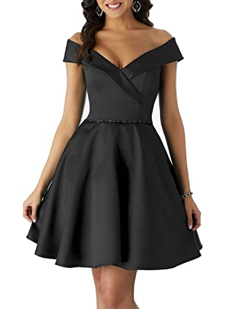 Off The Shoulder Beaded Homecoming Dresses Satin With Pockets Short