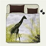 Africa Flannel blanket Silhouette of Giraffe Ferns National Park Terrestrial Tall Animal Printblanket queen size Pale Green Dark Green