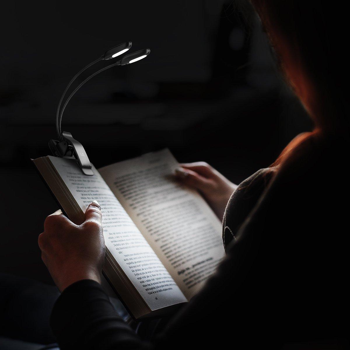 Lighting EVER Liseuse /à LED 2 niveaux de luminosit/é Compatible avec Kindle et liseuse sans /éblouissement avec pince r/églable 4/LED