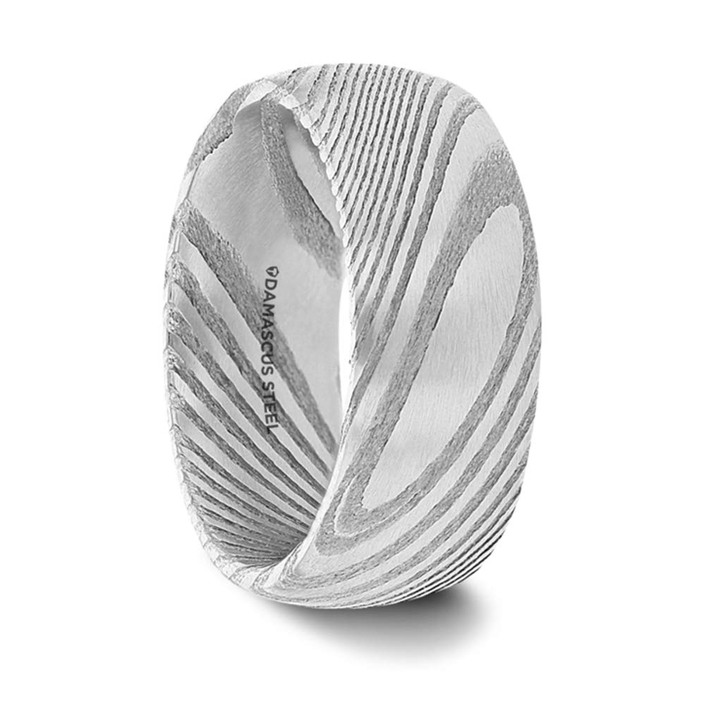 Thorsten Jewelry Damascus Steel Domed Brushed Wedding Band Ring Vivid Etched Design 8mm Band