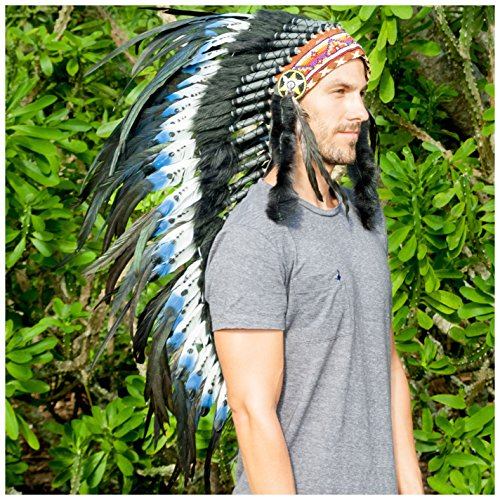 [Long Feather Headdress- Native American Indian Inspired- Handmade Halloween Costume for Men Women with Real Feathers - DOUBLE FEATHER] (Festival Costume For Men)