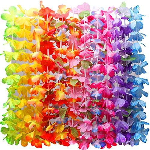 36 Counts Hawaiian Leis Necklace Tropical Luau Hawaii Silk Flower Lei Theme Party Favors Wreaths Headbands Holiday Wedding Beach Birthday Decorations (3 Dozens)