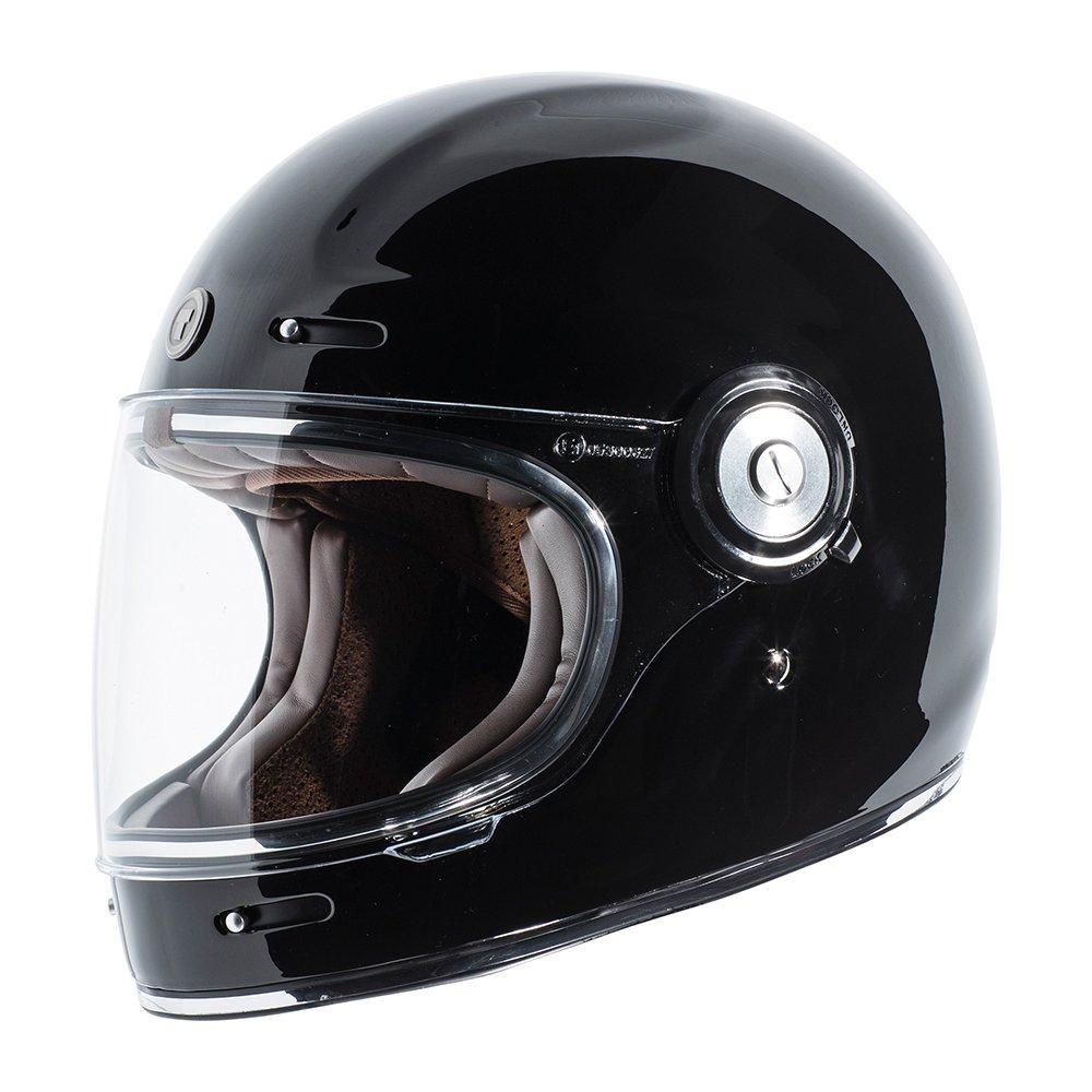 TORC Unisex-Adult T10524 Retro Fiberglass Full-Face Style Motorcycle Helmet (Gloss Black, Large), 1 Pack