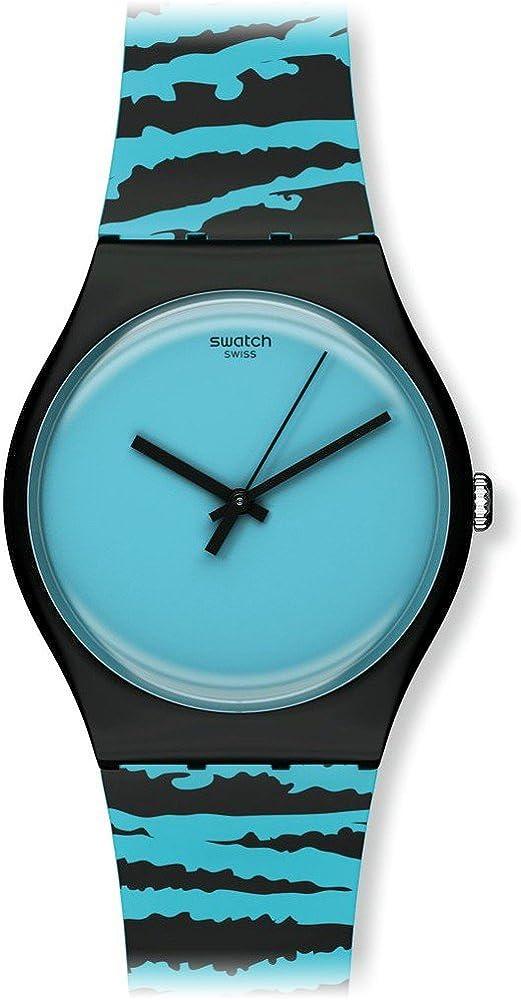 Swatch Unisex Reloj de Pulsera Wonder Tube analógico de Cuarzo Caucho suoz143
