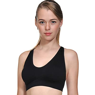 ACtex Femmes Wirefree Workout Stretch Strap Sport Soutien-Gorge Croix Dos Avec Pads Amovibles Coupe Transparente Plus La Taille
