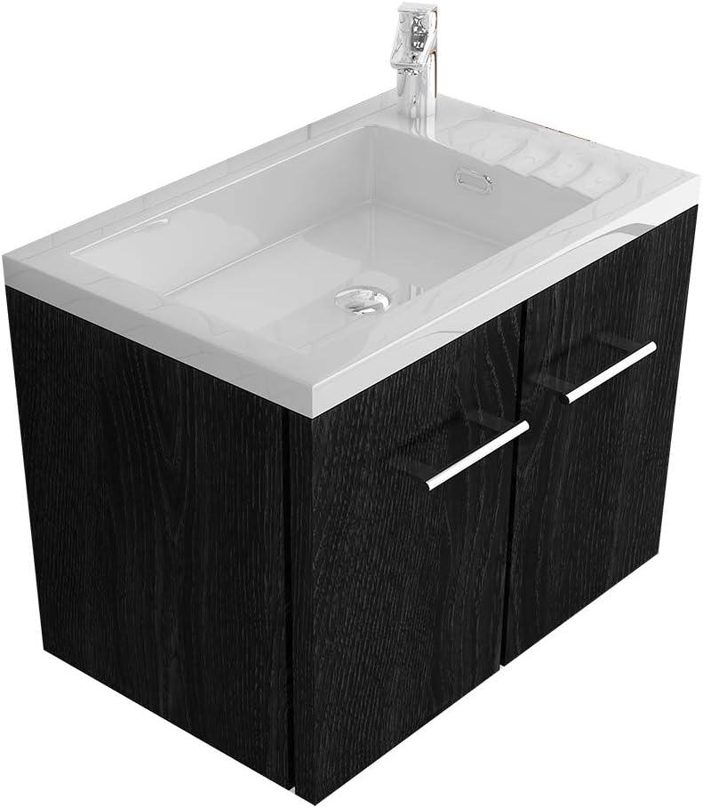 Alpenberger Badmöbel- Set 50 x 33 cm in Schwarz   Aufsatzwaschbecken mit integriertem Überlauf aus hochwetigem Mineralguss + Unterschrank mit... 1