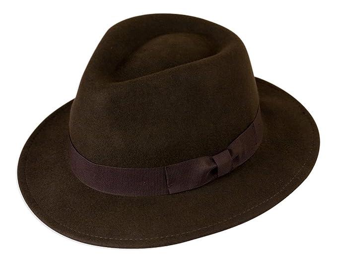 da11126756384 Gamble   Gunn 100% Wool Felt Fedora Brown  Amazon.co.uk  Clothing