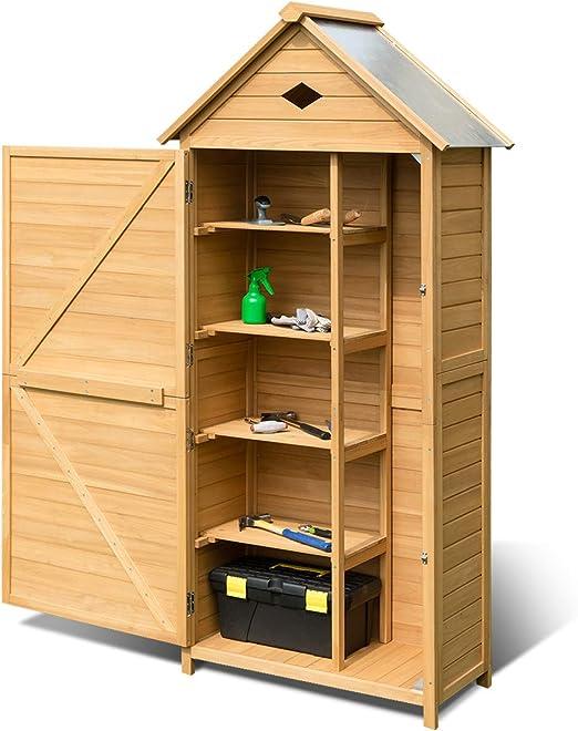 Costway - Armario de jardín para jardín, cobertizo para herramientas de madera de abeto con 4 estantes, una puerta y un techo doble para jardín, balcón o terraza, 70 x 35, 5