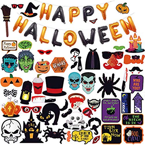 Halloween Props For Photo Booth (66PCS Halloween Photo Booth Props Kit +Black and Orange Foil Balloons Banner for Halloween Decorations Party Favors)