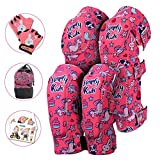 Innovative Soft Kids Knee and Elbow Pads with Bike Gloves | Toddler Protective Gear Set w/Mesh Bag | Roller-Skating, Skateboard for Children Boys Girls (Pink Snowflake, Large (8-11 Years))