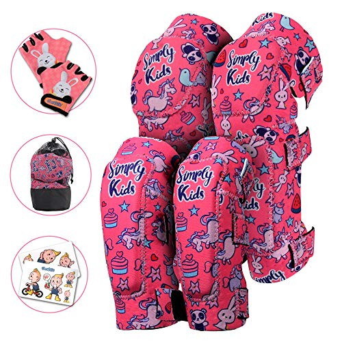 Innovative Soft Kids Knee and Elbow Pads with Bike Gloves | Toddler Protective Gear Set w/Mesh Bag | Comfortable& Flexible | Skateboard for Children Boys Girls ((2nd Gen) Unicorn, Small -