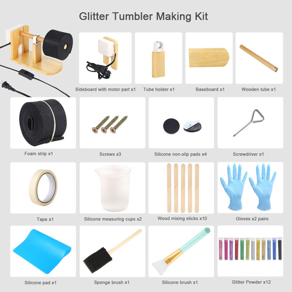 Sntieecr Epoxy Glitter Tumbler Full Kits with Tumbler Turner Machine 12 Pieces Glitter Powder 20 Pieces Epoxy Tools for DIY Epoxy Resin Craft Tumblers