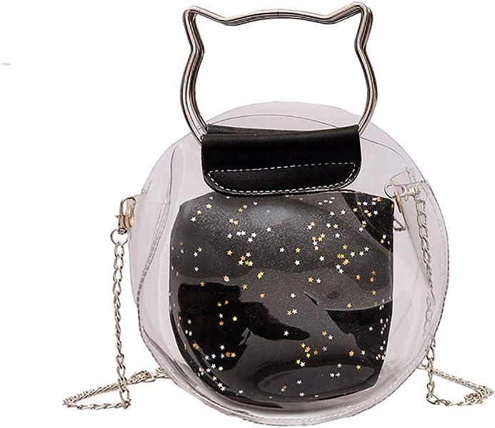 96b2dce8de Amazon.com  2 in 1 Clear Tote Transparent Handbag for Women Cat Head Top  Handle Small Chain PVC Purses Crossbody Satchel  Shoes