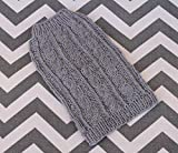 Cashmere/Merino Wool Cable Dog Puppy Sweater XXS/XS 2 to 3 Lbs Gray Super Soft! for Yorkie Chihuahua Maltese, Pomeranian Shih Tzu Teacup
