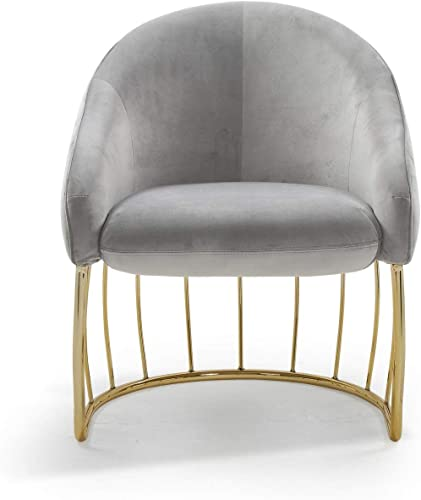 Iconic Home Teatro Accent Club Chair Shell Design Velvet Upholstered Half-Moon Gold Plated Rods Solid Metal Base Modern Contemporary