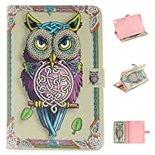 iPad mini4 Case, Showing Totem Series PU Leather Outer Shell + Soft TPU Inner Shell Protective Case for 7.9 Inches Apple iPad mini 4 Tablet Case (Colorful Owl)