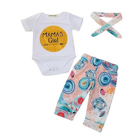 feiXIANG Bebé recién Nacido Ropa Infantil Carta Traje Bata + Pantalones Impresos + Banda de Pelo