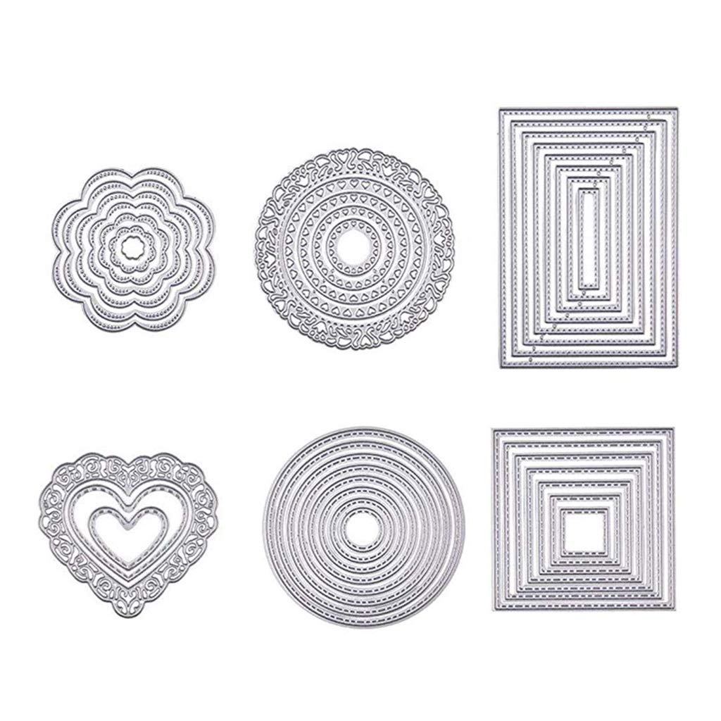 Round Heart Flower FangWWW 6 Sets Cutting Dies Cut Metal Scrapbooking Stencils Nesting Die for DIY Embossing Photo Album Decorative DIY Paper Cards Making Rectangle Square