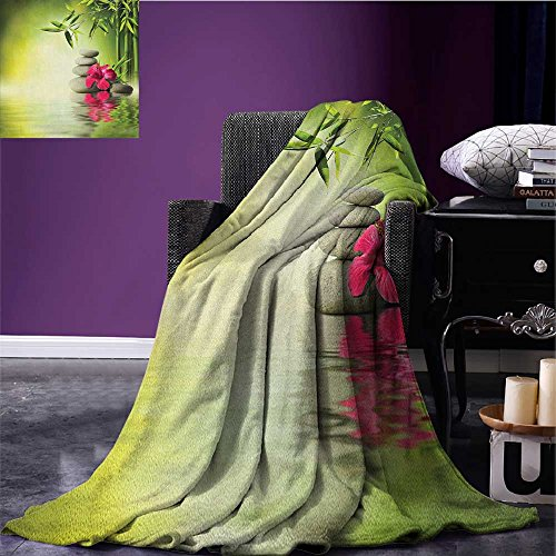 Spa waterproof blanket Stones and Bamboo Leaves on the Water Pool Meditation Freshness Relaxing Theme plush blanket Apple Green Magenta size:51''x31.5'' by BarronTextile