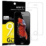Pack de 2 Verre Trempé iPhone 5 5S SE 5C, NEWC® Film Protection en Verre trempé écran Protecteur - ANTI RAYURES - SANS BULLES D'AIR -Ultra Résistant Dureté 9H Glass Screen Protector pour iPhone 5 / 5S / 5C / SE