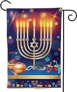 "YISHOW Jewish Happy Hanukkah Garden Flag Double Sided Vertical Happy Jewish Candle Hanukkah House Flags Yard Signs Outdoor Decor 12.5""X18"""