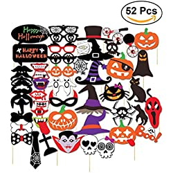 Tinksky Halloween Party Photo Booth Props Creative Happy Halloween Pose Sign Kit for Party Decoration happy halloween 52-pack
