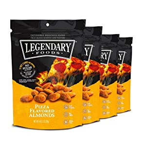 Legendary Foods Pizza Flavored Almonds | Keto Friendly Low-Carb Snacks | High Protein, Fat, Potassium & More | Ideal Gluten Free Snacks for Post-Workout or Keto Diet (4oz, Pack of 4)