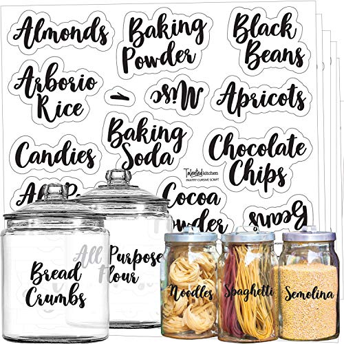 Mega Set 110 Pantry Labels - Preprinted Kitchen Labels Sticker by Talented Kitchen. Cursive Script Design. Clear Water Resistant Food Labels for Pantry Organization and Storage (Set of 110- Cursive)