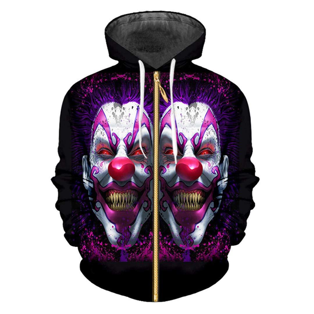 Moda Hombre/Mujer 3D Impreso Púrpura Sonriendo Clown Streetwear ...