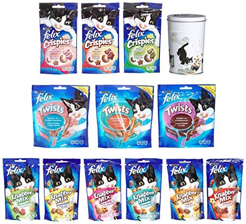 Felix Multipack, 12 x Snacks mit gratis Metall-Leckerli-Dose 1er Pack (1 x 645 g)